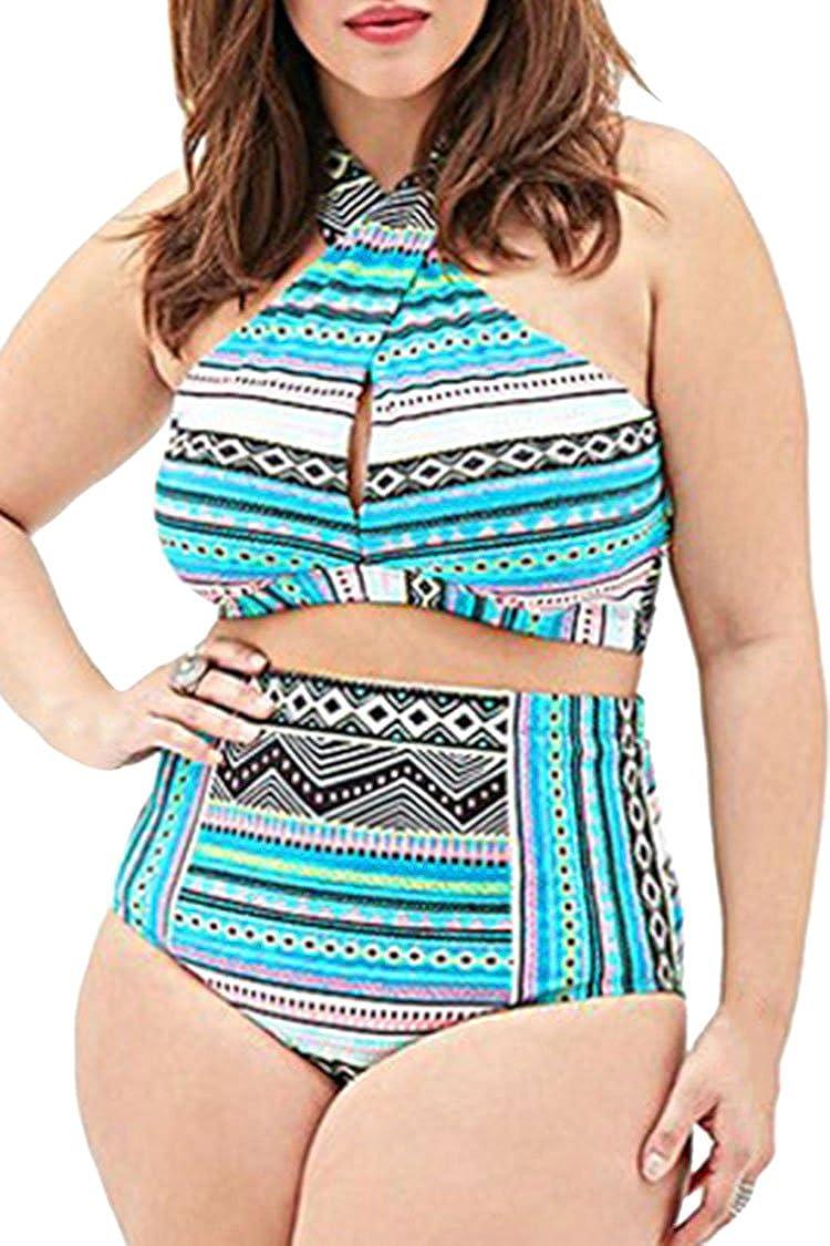 43a41db050 Amazon.com: Pink Queen Women's Plus Size Swimwear Criss Cross High Waist Swimsuit  Bikini Set: Clothing