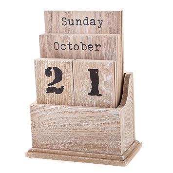 Gisela Graham Natural Wood Perpetual Calendar