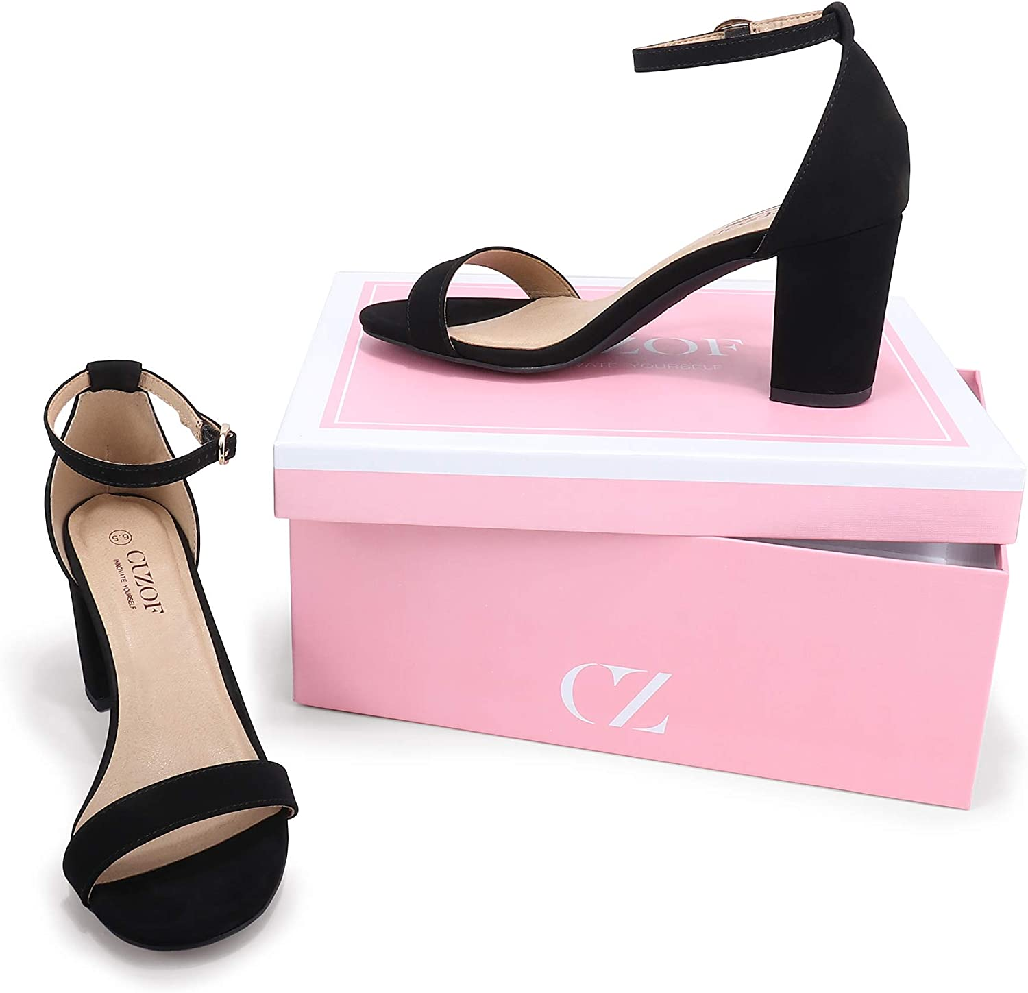 CZ CUZOF Womens Block Chunky Heels Sandals 3 Inch Open Toe Ankle Strap Wedding Party Dress Pump Shoes