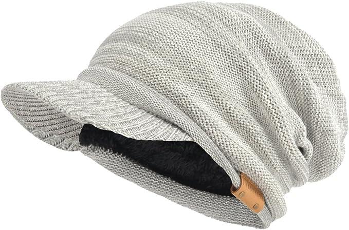 Light gray slouchy billed beanie with a garter stitch pattern