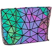 DIOMO Geometric Luminous Clutch Handbags for Women Holographic Reflective Crossbody Bag Shard Lattice Purse