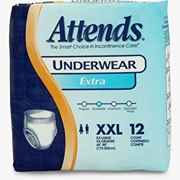 Attends Underwear Extra Absorbency 250 lb./2XL to 3XL/Qty 12