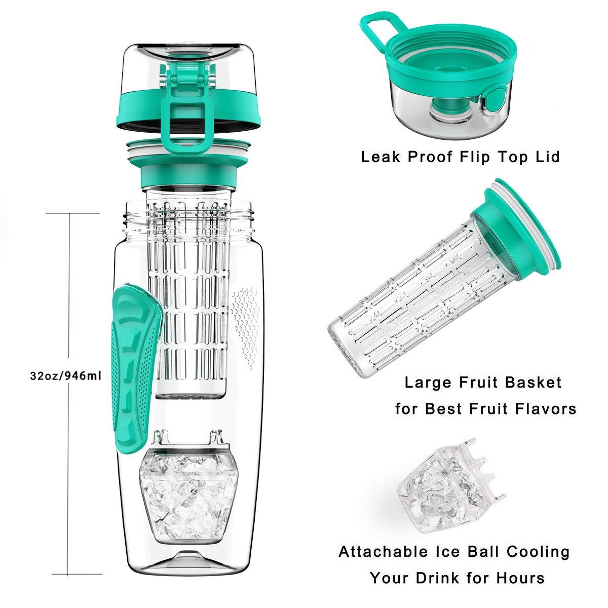 Opard Bottiglie Infusore 1 Litro Sportiva Bottiglia Infusore Frutta 100/% Senza BPA Tritan Frutta Acqua Bottiglia con Palla di Ghiaccio