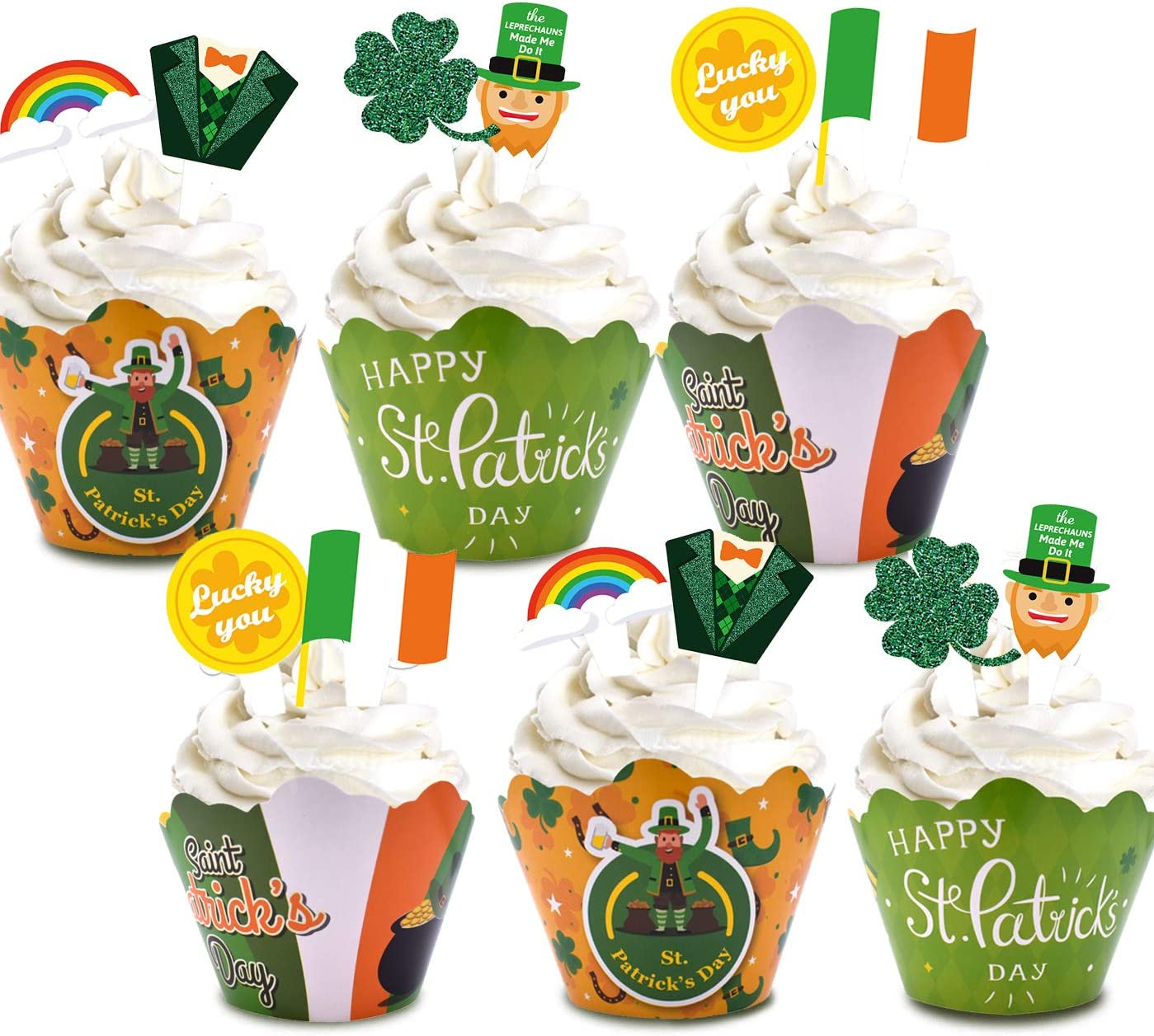 St. Patricks Day Cupcake Wrappers and Toppers - Saint Patrick's Day 48PCS Shamrock Cupcake Liners and Cupcake Picks, Paper Cups for Irish Festival Luck Party Supplies, Decoration Gift
