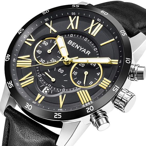 BENYAR Moda Relojes Cuarzo Cronógrafo Impermeable Negocios Casual Muñequera Deporte Cuero Band Reloj para Hombre: Amazon.es: Relojes