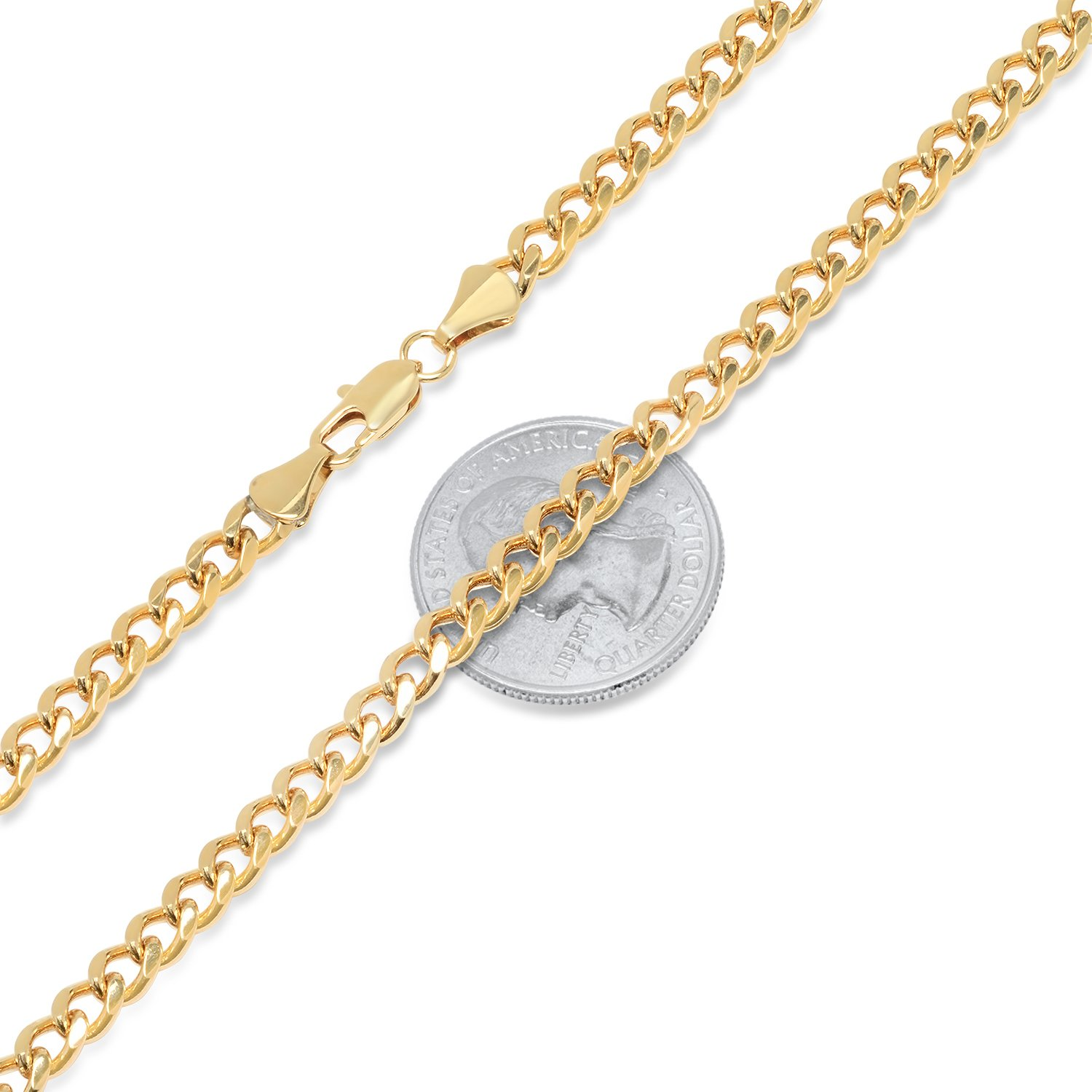 The Bling Factory 4.9mm 25 Mills 14k Gold Plated Curb Link Chain