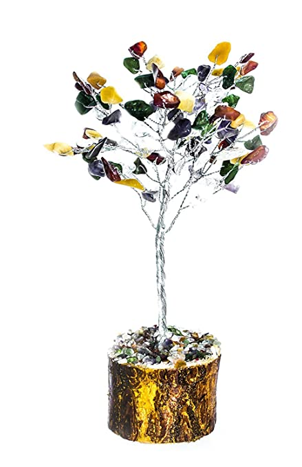 Luck /& Money Tree Natural Gemstone Crystal Amethyst EMF Protection  Table Decor