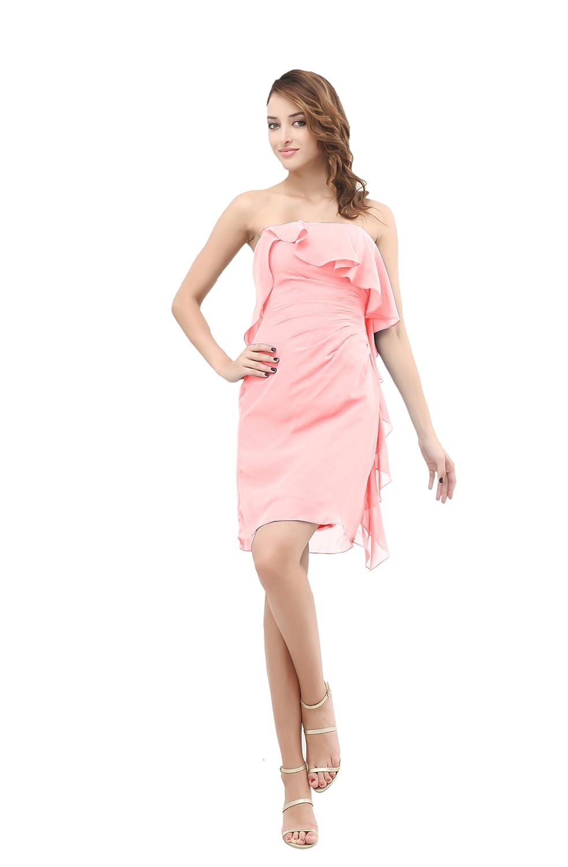 Dresstells Chic Damen Kleider Kurz Chiffon Ballkleid Abendkleid mit Drapierung und Rüschen