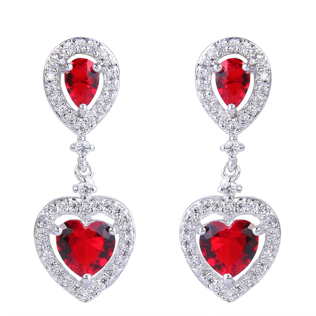 EVER FAITH Women's Cubic Zirconia Wedding Elegant Teardrop Love Heart Dangle Earrings Red Silver-Tone