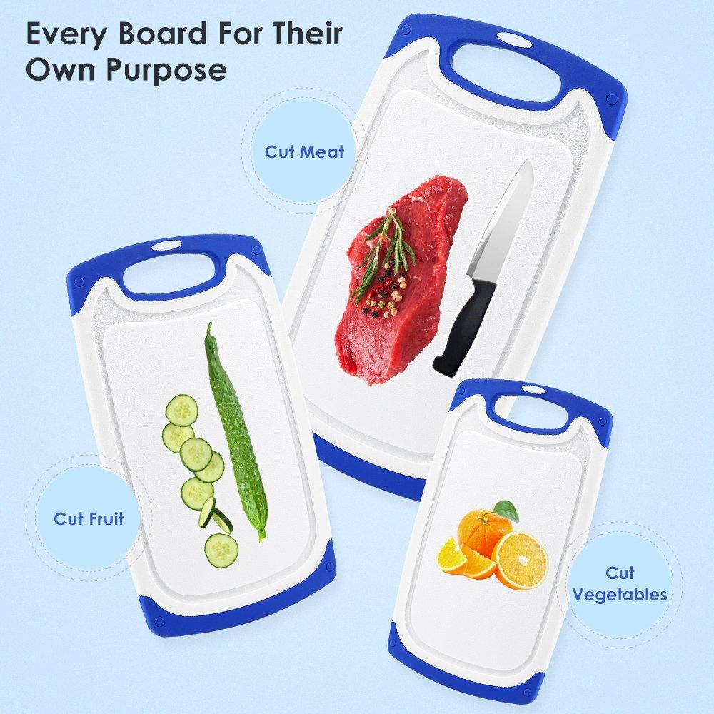 Compra Whitgo Tablas de Cortar de plástico Conjunto de 3, lavavajillas Tabla de Cortar Segura Reversible establecen con Patas Antideslizantes y Profunda por ...