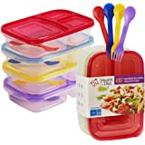 Health & Diet 3 Compartment Plastic Bento Lunch Box with Matching Combi Spoon - Set of 4