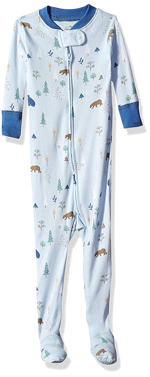 Moon and Back Girls' Organic One-Piece Footed Pajamas PJ30-1PK-ZIP