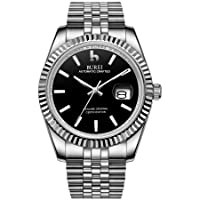 Men's Automatic Watches 24 Dial Analogue Calendar Window Display Sapphire Glass with Two Tone Stainless Steel Band