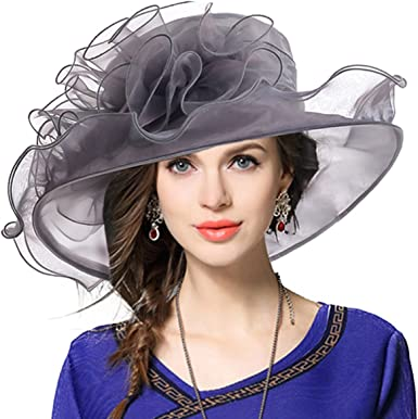 Silver Grey Womens Kentucky Derby Hat Lampshade Dress Wedding Tea party USA NEW