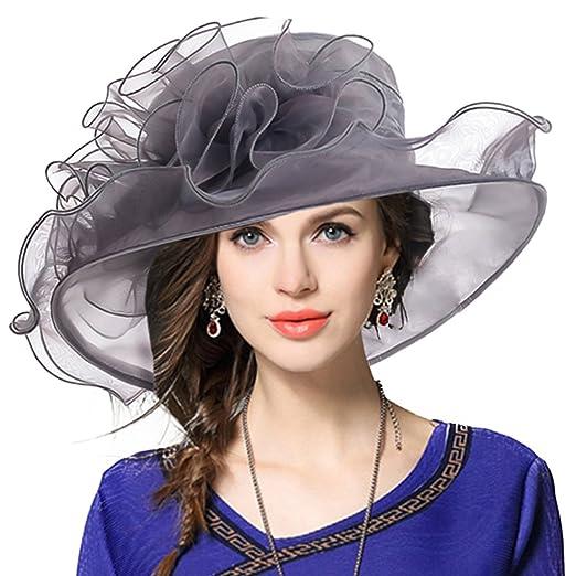 14d95fb05b6 Kentucky Derby Hat Wide Brim Flounce Cocktail Tea Party Bridal Dress Church  Hat (09-