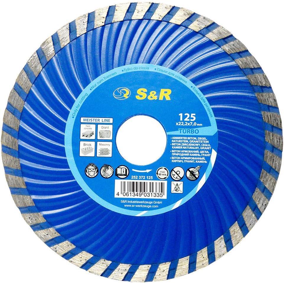 S&R Disco Tronzador Diamante 125 x22,2 mm Turbo. Para hormigón hormigón armado, granito, piedra natural, ladrillo, corte en seco