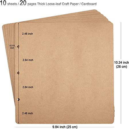 Scrapbook Album Inserts Sheets A4 Loosesleaf Plain Pack 10