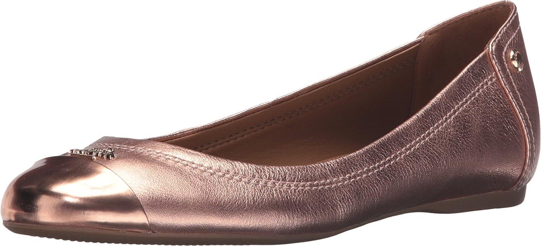 COACH Women's Chelsea Rose Gold Metallic Tumbled/Mirror Metallic Flat 9.5 M