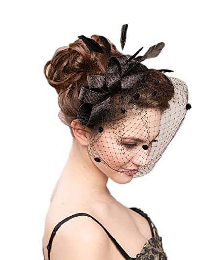 Eliffete Black Feather Headpiece Bridal Accessory Cocktail Hat Evening  Headdress 2e2d87cc4c6