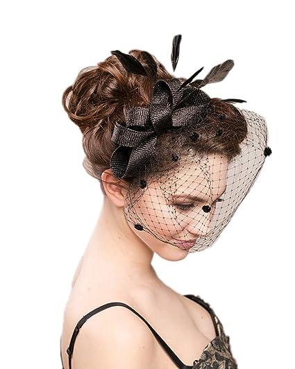 Eliffete Black Feather Headpiece Bridal Accessory Cocktail Hat Evening  Headdress 818e08cdc2b
