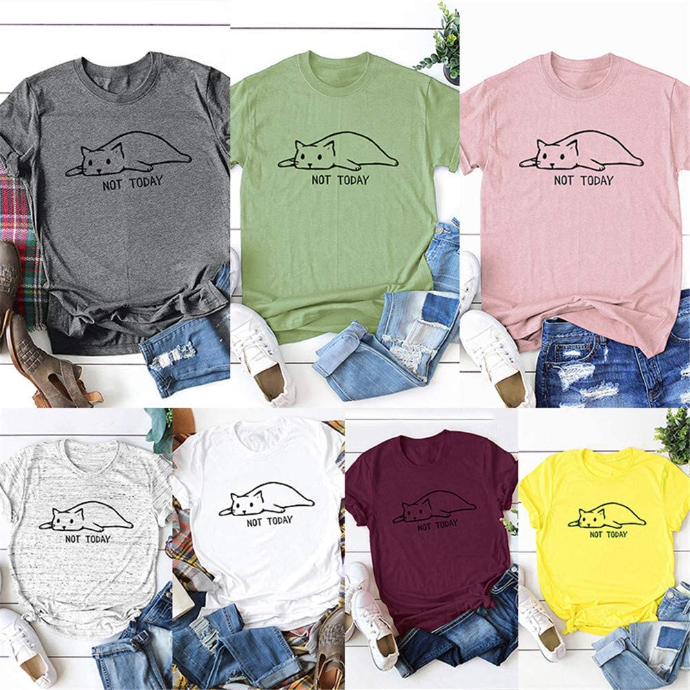 Festnight Womens Not Today Crazy Cat T Shirts Graphic Cute Funny Cotton Short Sleeve Blouse Cartoon Cat Letters Print Tops