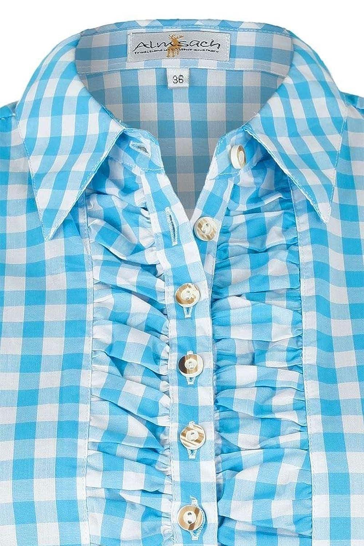 Almsach Damen Bluse 3/4-Arm Gerafft Türkis-Weiß Kariert, Türkis,:  Amazon.de: Bekleidung
