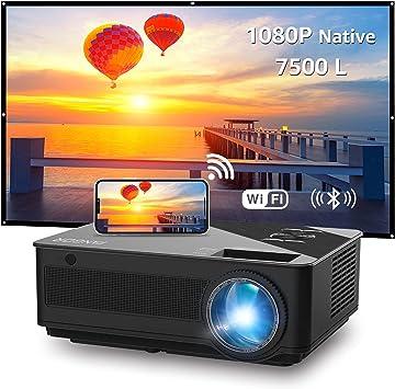 Fangor - Proyector WiFi Full HD 1080P nativo 7500L Bluetooth Proyector para cine en casa, compatible con TV Stick, HDMI, VGA, USB, Smartphone