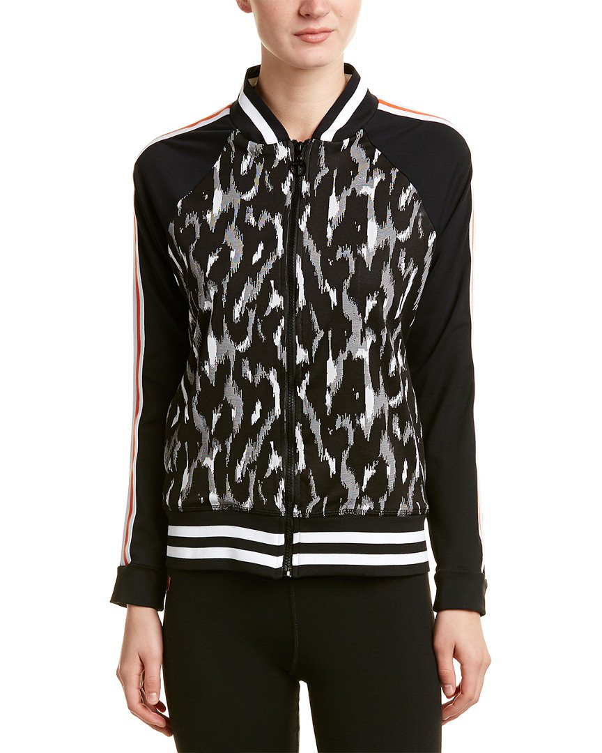 Trina Turk Recreation Women's Leopard Luxe Jacquard Bomber Jacket, Black, M