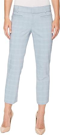 79fd38d3cee15 Liverpool Women's Vera Cropped Trousers in a Soft Windowpane in Dusty Blue  Dusty Blue 4 25.5
