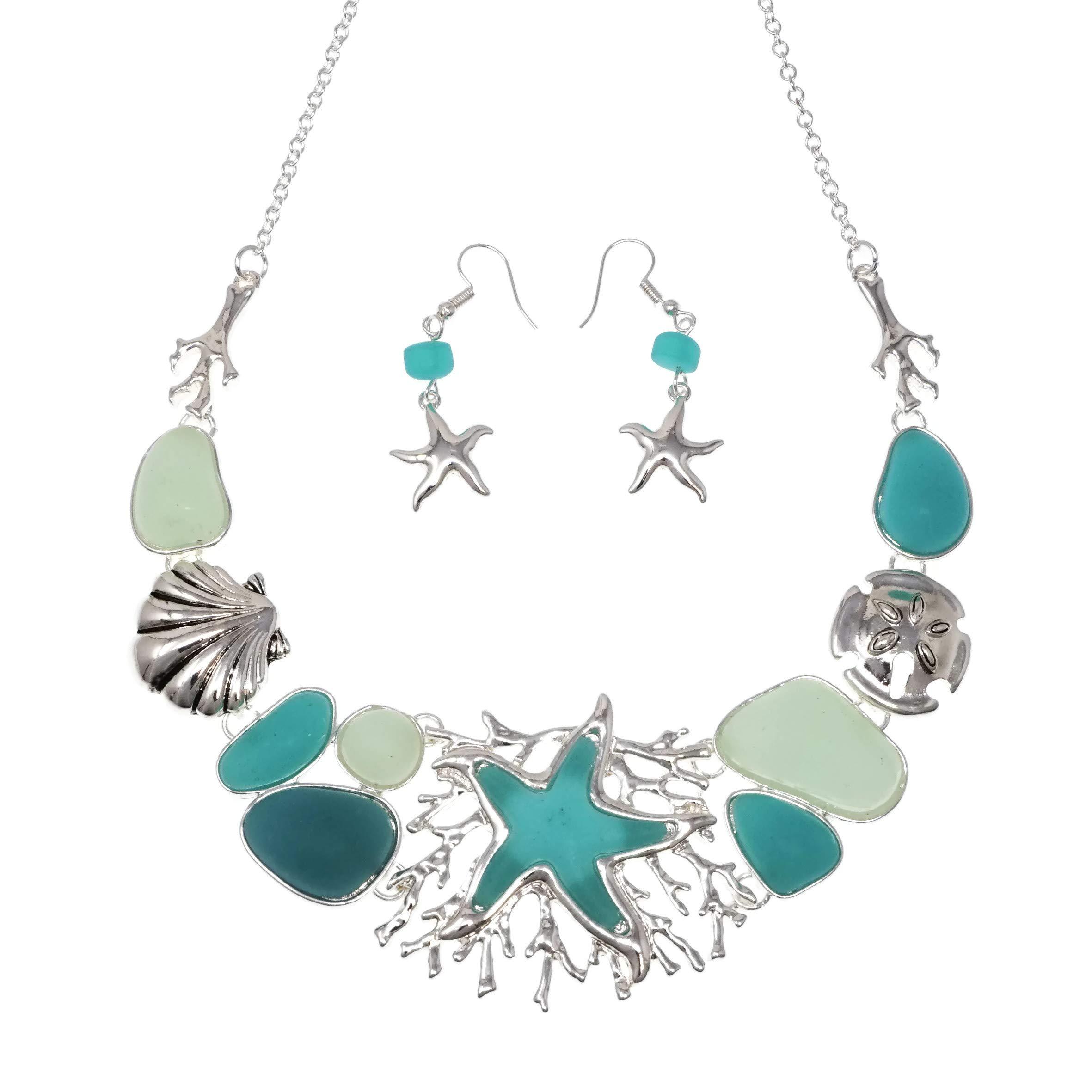 Elosee Mixed Sealife Theme Seaglass Multi Tone Bib Statement 18'' Necklace & Matching Earrings