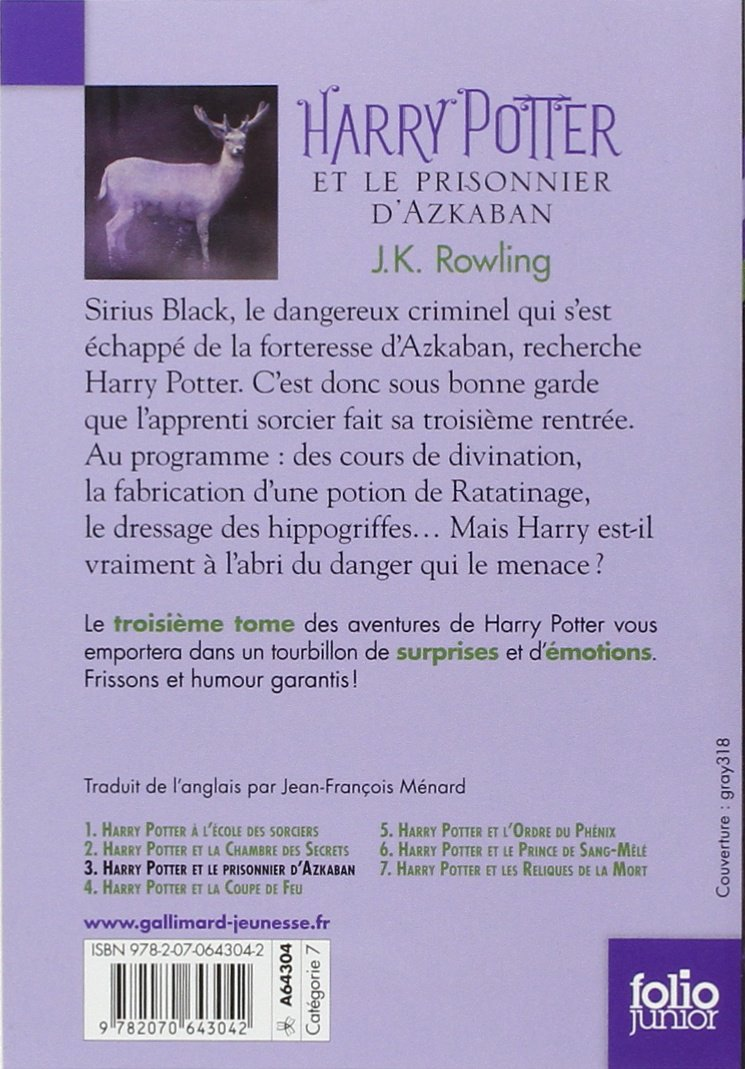 Harry Potter Et Le Prisonnier D Azkaban French Edition