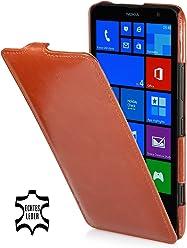 StilGut UltraSlim Case, custodia in vera pelle per Nokia Lumia 1320, cognac