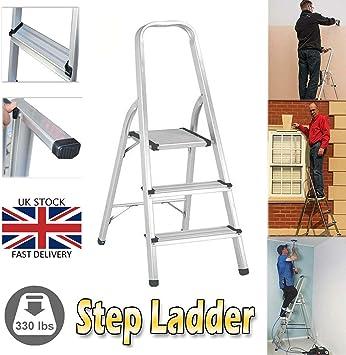 Maximum Loading 150kg 3-4-5-6-7-8 Tread Step Ladder Folding Lightweight Portable Aluminum Ladders with Safety Non-Slip Steps EN131 Certificate /… 3 Step