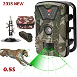 Game Trail Camera 1080P 12MP with Sound Scouting Camera with 2.4in LCD Screen No Glow Black Infrared Night Vision 0.5s Trigger Speed IP66 Waterproof for Wildlife Hunting Monitoring Security