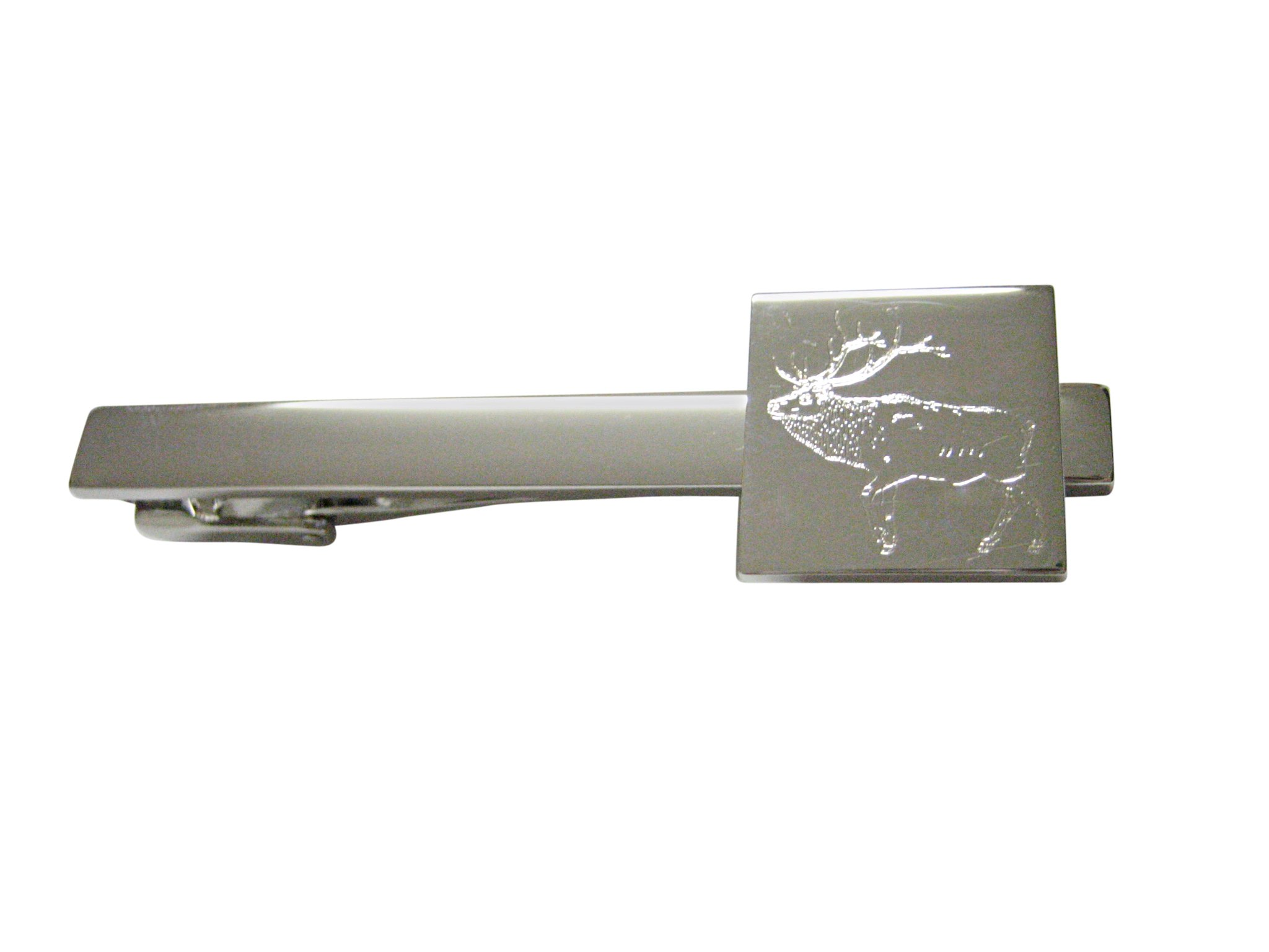 Silver Toned Etched Elk Square Tie Clip