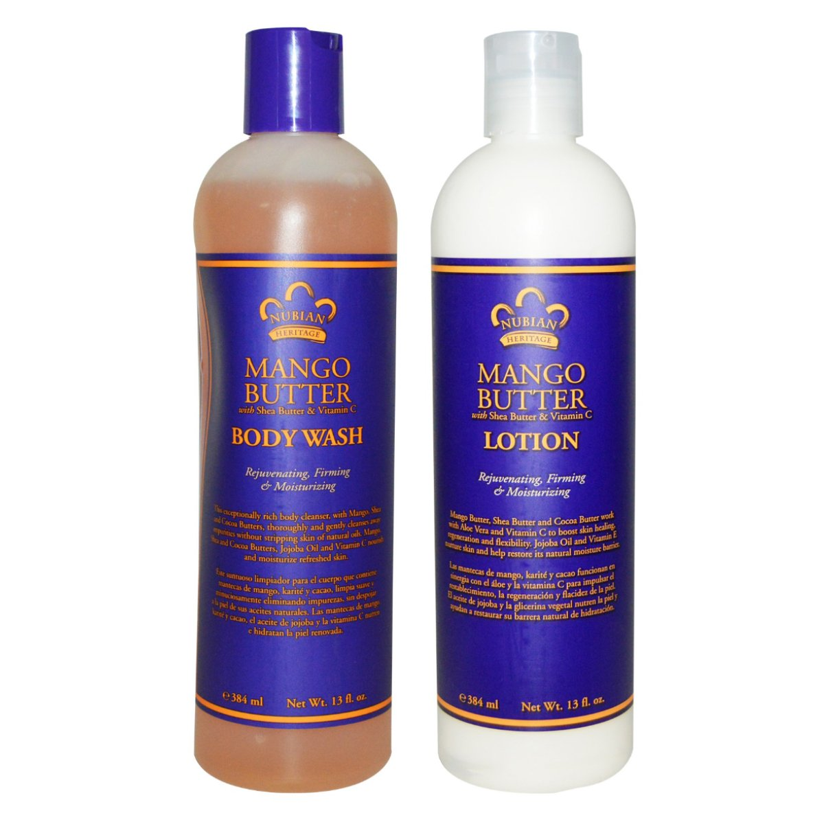 Amazon.com: Nubian Heritage Mango Butter Body Wash and Lotion Bundle, With Shea and Cocoa Butters, Aloe Vera, Jojoba Oil, Vitamin C and E, 13 fl oz each: ...
