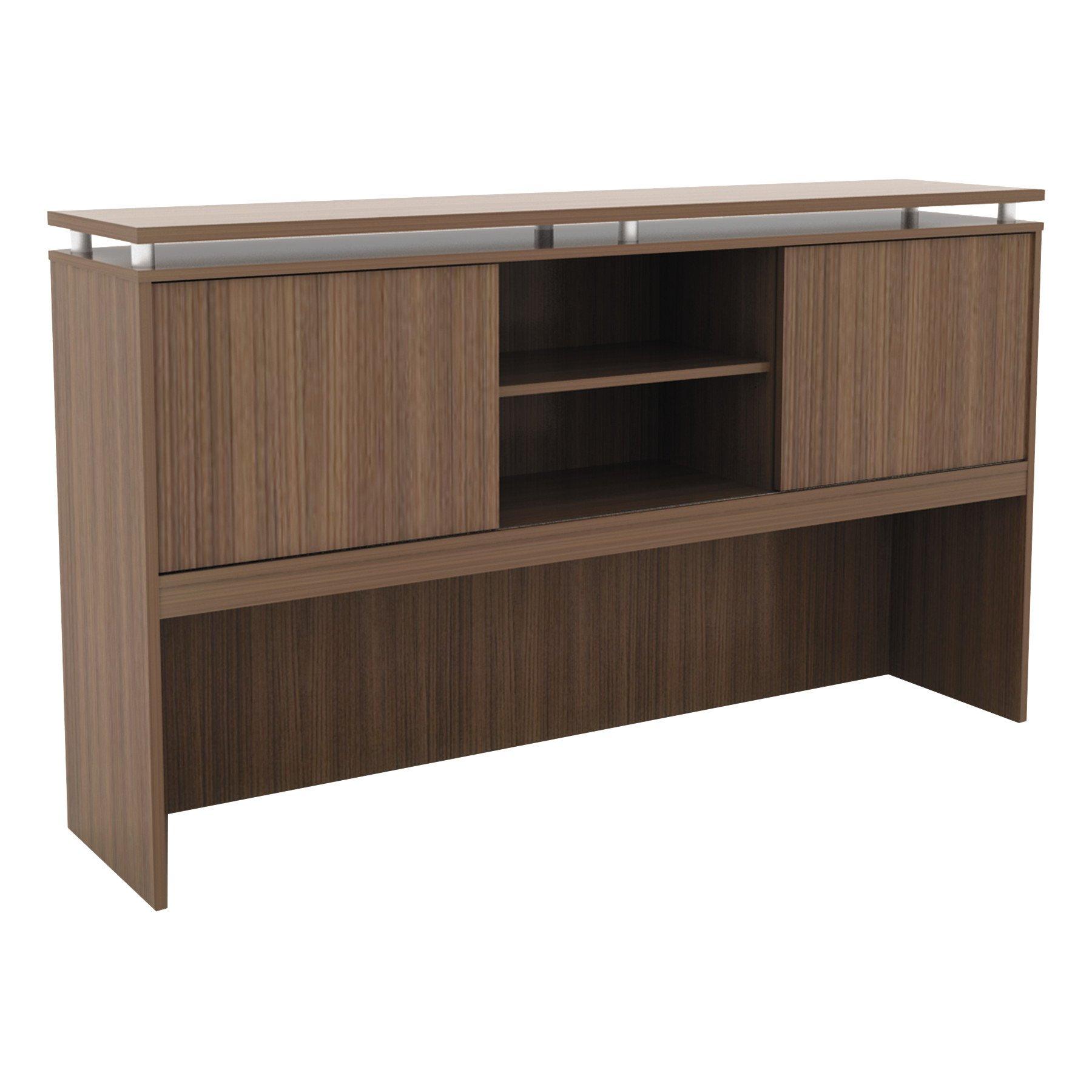 Alera ALESE266615WA Sedina Series Hutch with Sliding Doors, 66w x 15d x 42 1/2h, Modern Walnut