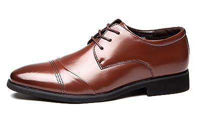 Schuhe Herren Schnürhalbschuh Lackleder Derby Klassischer Trauung Rahmengenähter mit Oxford Schnürung Schwarz 37 EU WOg03dqr