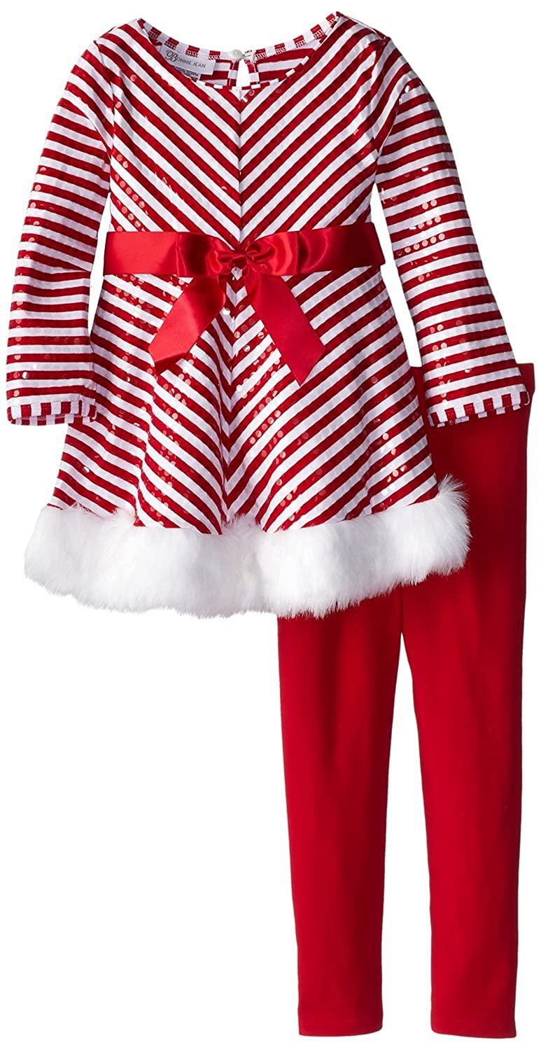 Bonnie Jean Little Girls' Holiday Pant Set - Red White Chevron Sequined Tunic Set