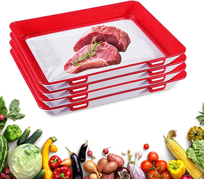 Food Preservation Tray, Food Preservation Trays Reusable-Stackable Creative Food Preservation Tray with Vacuum Sealing Function-Food Preservation Trays with Lids 4 Pack