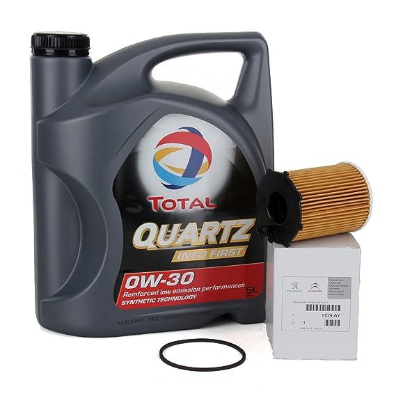 PACK ORIGINAL DUO aceite motor Total Quartz Ineo First 0W-30, 5 Litros + filtro aceite PSA Original 1109AY motores 1.4/ 1.6HDi: Amazon.es: Coche y moto