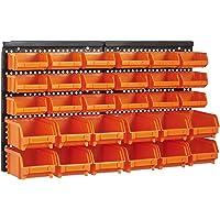 Queta 2 Paneles de Pared Organizador de Herramientas con 30 Piezas de Cajas apilables Material ABS Estantería de…