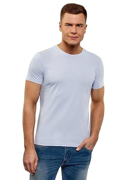 oodji Ultra Herren Gerades Tagless T-Shirt Basic, Blau, XS