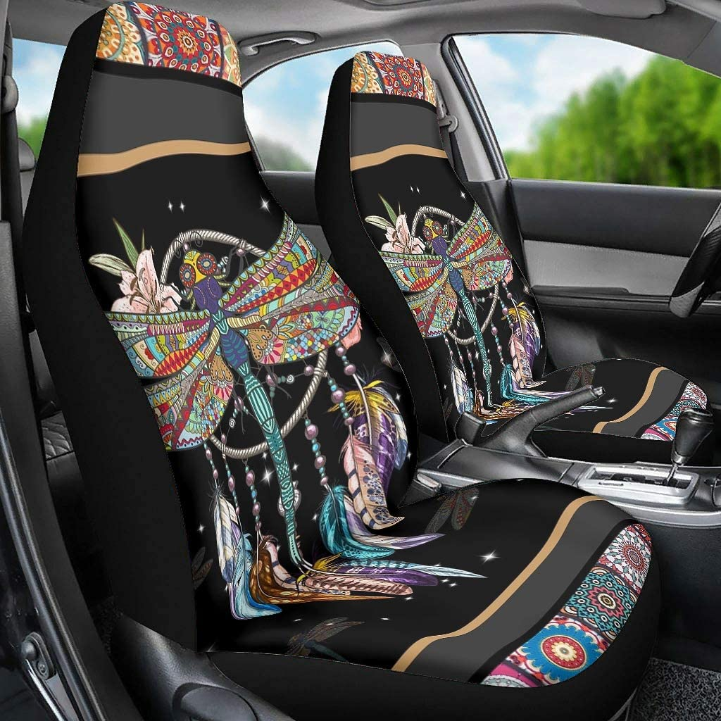 QXGIAO Catcher Dragonfly Car Seat Covers Set of 2 Automotive Interior Accessories Anti-Dirt for Car
