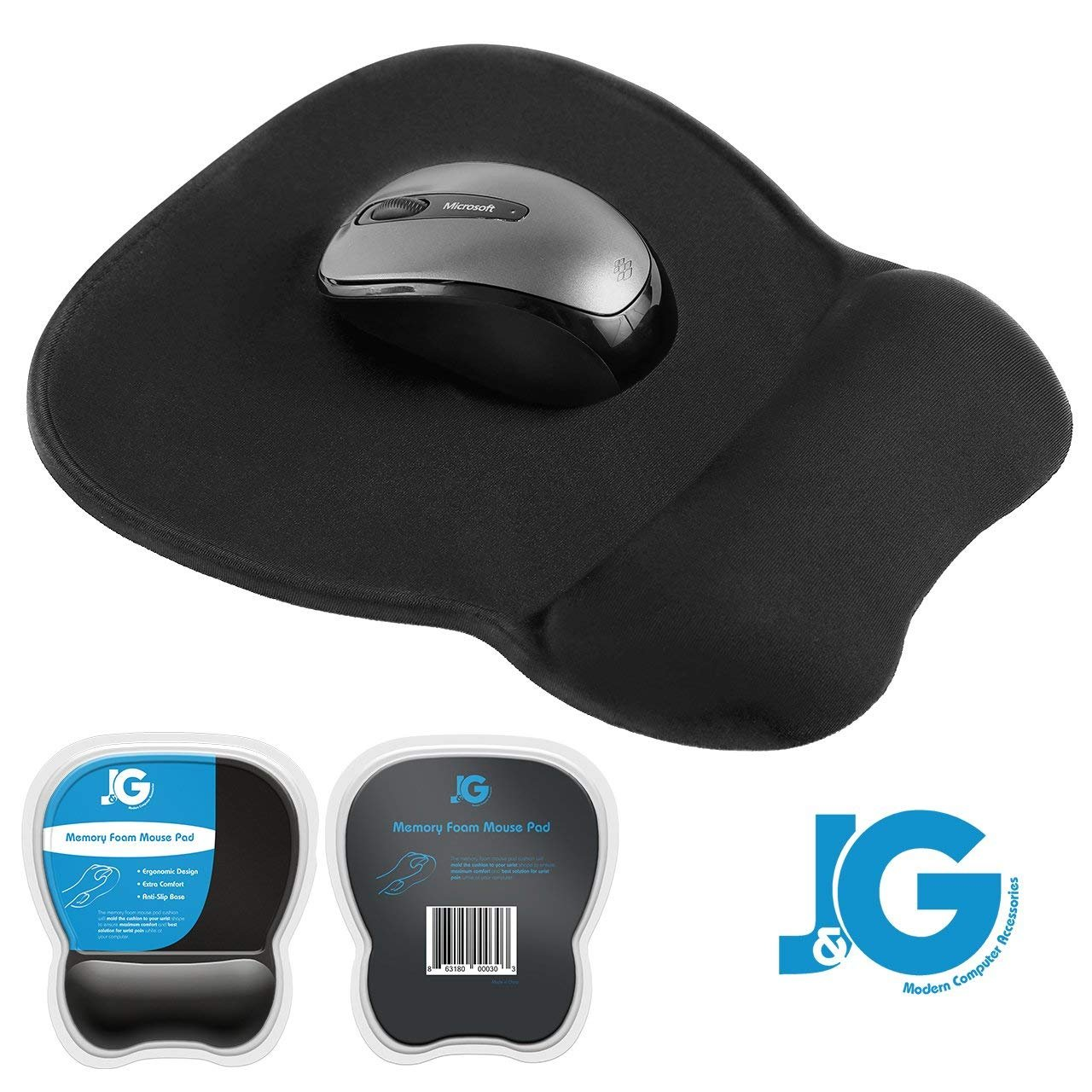 J&G MODERN COMPUTER ACCESSORIES Mouse Pad with Wrist Support, Rest | Ergonomic | Black | Eliminates All Pains, Carpal Tunnel or Any Other Wrist Discomfort! Non-Slip Base & Stitched Edges. by J&G MODERN COMPUTER ACCESSORIES