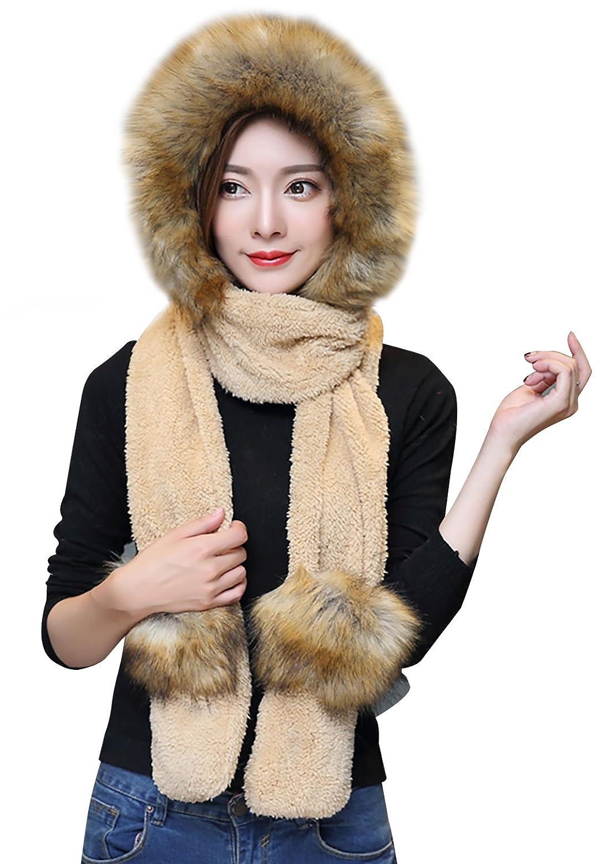 Women Girls Winter Warm Long Scarf Earflap Hat Hoodie Gloves Pocket Shawl - Khaki Aivtalk
