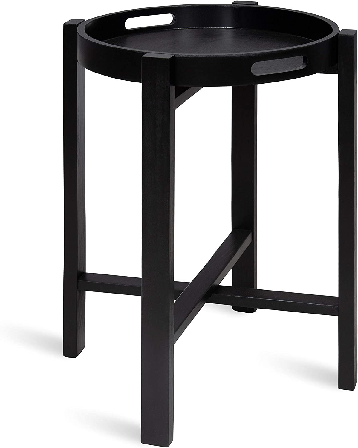 Kate and Laurel Rottier Round Wooden Foldable Tray Table, Black 141[並行輸入]