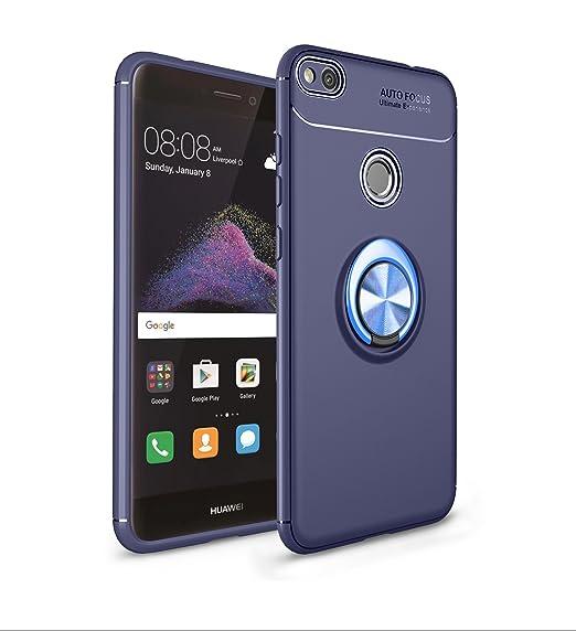 Ququcheng Funda Huawei P8 Lite 2017,Carcasa Huawei P9 Lite 2017 Silicona Cover+Pantalla de Vidrio Templado Absorción Caso Skin Carcasa Case para ...