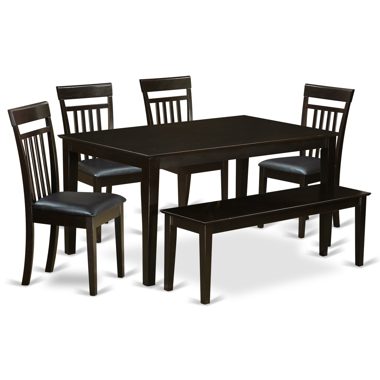 Amazon com east west furniture cap6s cap lc 6 pc dining room set top kitchen table and 4 kitchen chairs plus 1 dining bench kitchen dining