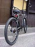 ビーチクルーザー 自転車 シマノ6段変速 極太フレーム 砲弾型ライト付
